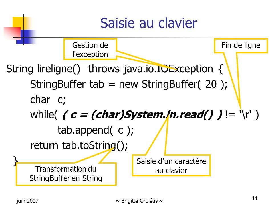 juin 2007~ Brigitte Groléas ~ 11 Saisie au clavier String lireligne() throws java.io.IOException { StringBuffer tab = new StringBuffer( 20 ); char c;