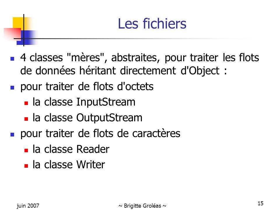 juin 2007~ Brigitte Groléas ~ 15 Les fichiers 4 classes