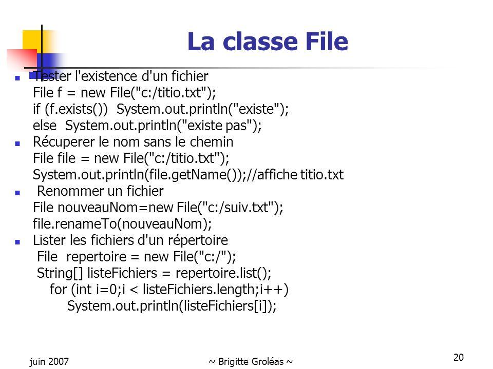 juin 2007~ Brigitte Groléas ~ 20 La classe File Tester l'existence d'un fichier File f = new File(