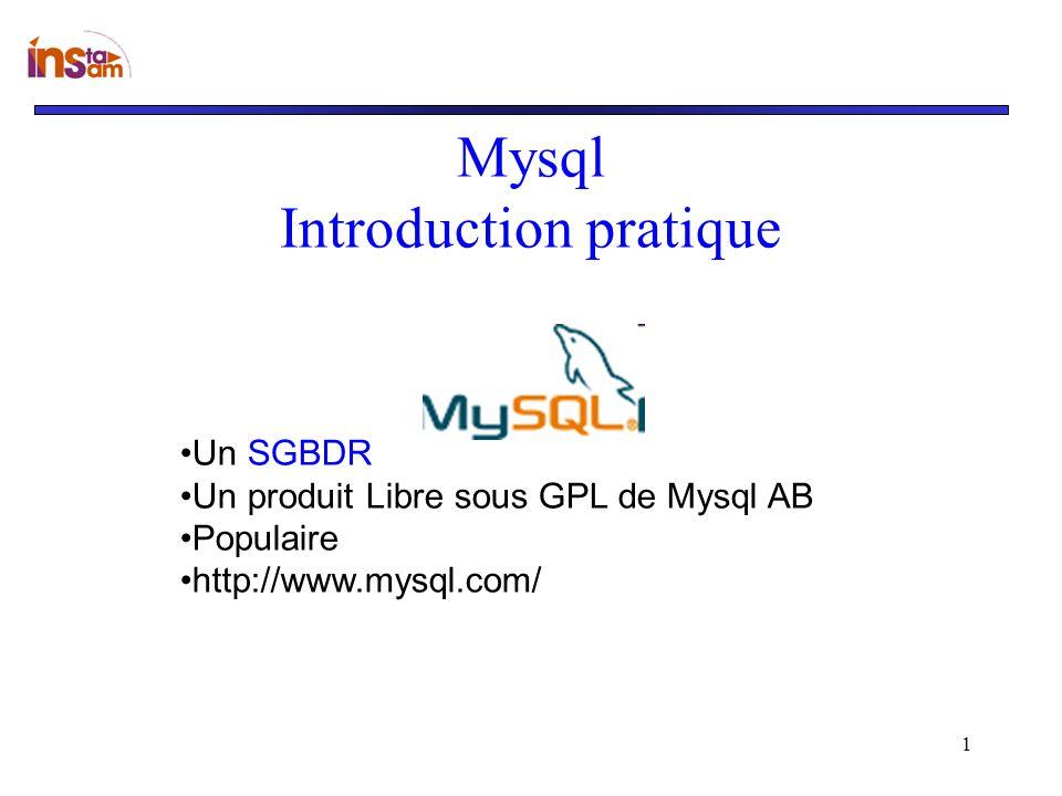 1 Mysql Introduction pratique Un SGBDR Un produit Libre sous GPL de Mysql AB Populaire http://www.mysql.com/