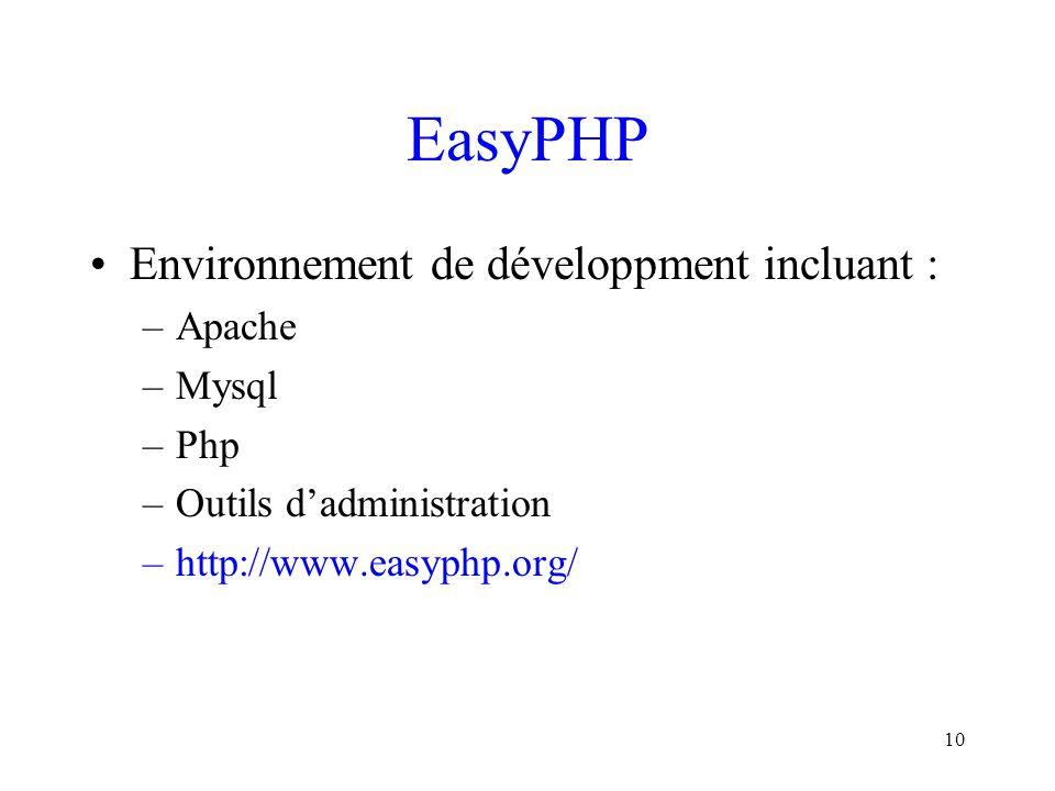 10 EasyPHP Environnement de développment incluant : –Apache –Mysql –Php –Outils d'administration –http://www.easyphp.org/