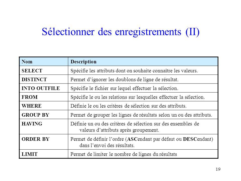 19 Sélectionner des enregistrements (II) NomDescription SELECTSpécifie les attributs dont on souhaite connaître les valeurs. DISTINCTPermet d'ignorer