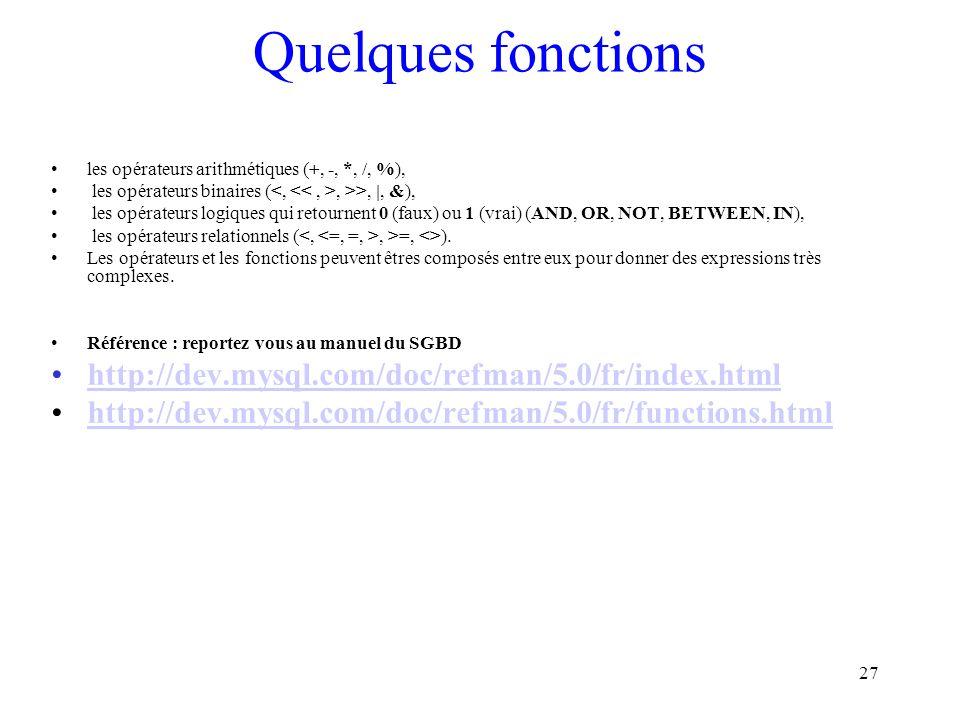 27 Quelques fonctions les opérateurs arithmétiques (+, -, *, /, %), les opérateurs binaires (, >>, |, &), les opérateurs logiques qui retournent 0 (fa