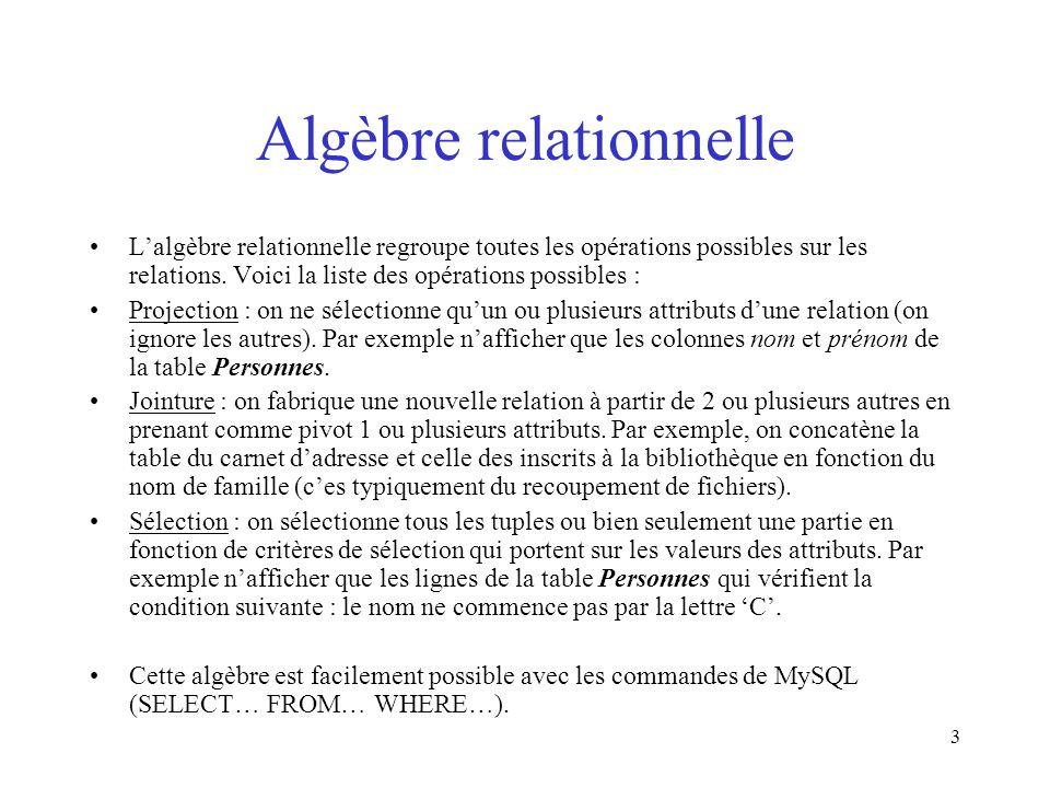 3 Algèbre relationnelle L'algèbre relationnelle regroupe toutes les opérations possibles sur les relations. Voici la liste des opérations possibles :