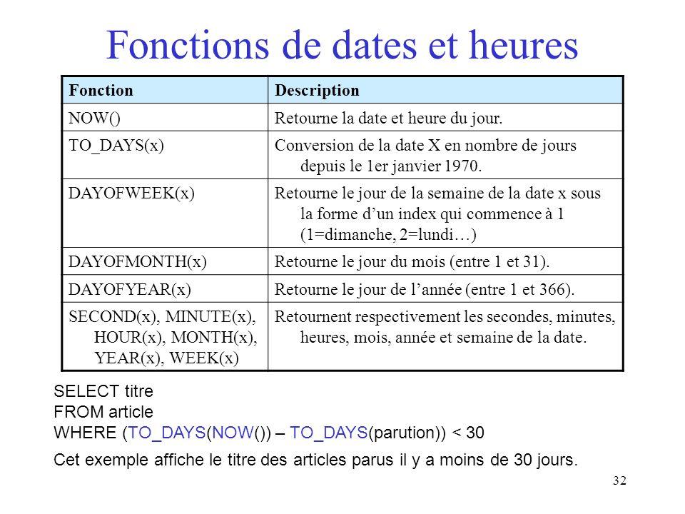 32 Fonctions de dates et heures FonctionDescription NOW()Retourne la date et heure du jour. TO_DAYS(x)Conversion de la date X en nombre de jours depui