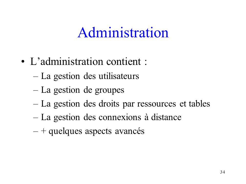 34 Administration L'administration contient : –La gestion des utilisateurs –La gestion de groupes –La gestion des droits par ressources et tables –La