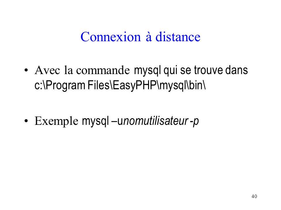 40 Connexion à distance Avec la commande mysql qui se trouve dans c:\Program Files\EasyPHP\mysql\bin\ Exemple mysql –u nomutilisateur -p