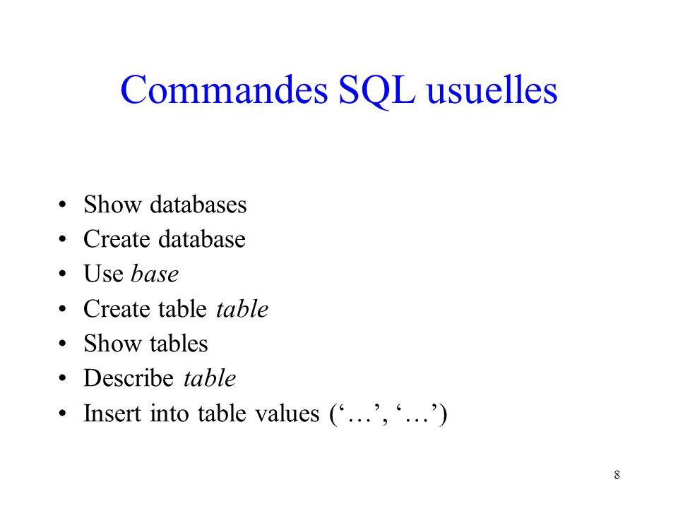19 Sélectionner des enregistrements (II) NomDescription SELECTSpécifie les attributs dont on souhaite connaître les valeurs.