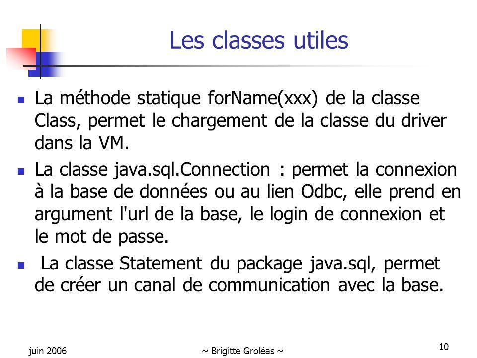 juin 2006~ Brigitte Groléas ~ 10 Les classes utiles La méthode statique forName(xxx) de la classe Class, permet le chargement de la classe du driver dans la VM.