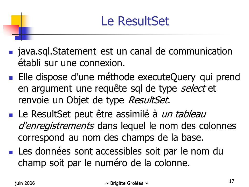 juin 2006~ Brigitte Groléas ~ 17 Le ResultSet java.sql.Statement est un canal de communication établi sur une connexion. Elle dispose d'une méthode ex