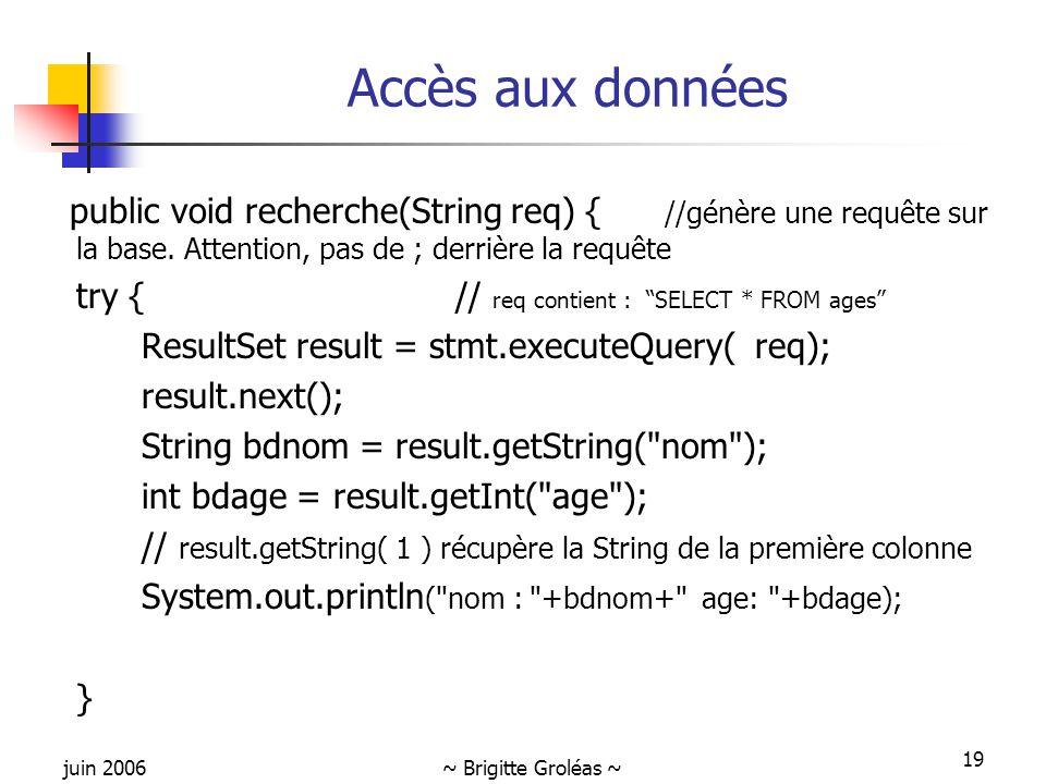 juin 2006~ Brigitte Groléas ~ 19 Accès aux données public void recherche(String req) { //génère une requête sur la base. Attention, pas de ; derrière