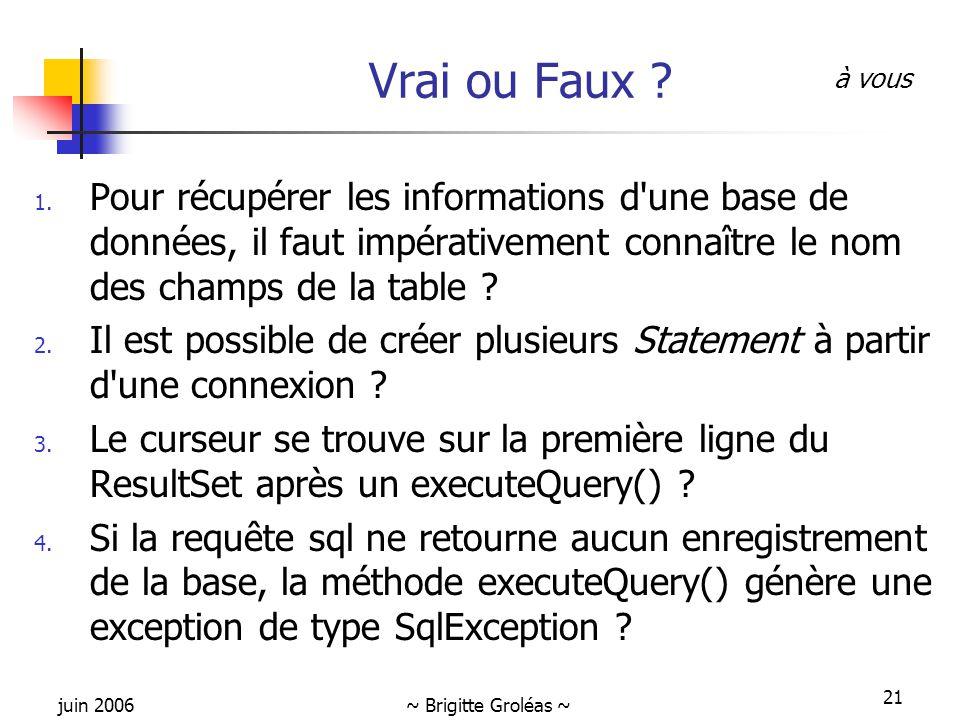 juin 2006~ Brigitte Groléas ~ 21 Vrai ou Faux ? 1. Pour récupérer les informations d'une base de données, il faut impérativement connaître le nom des