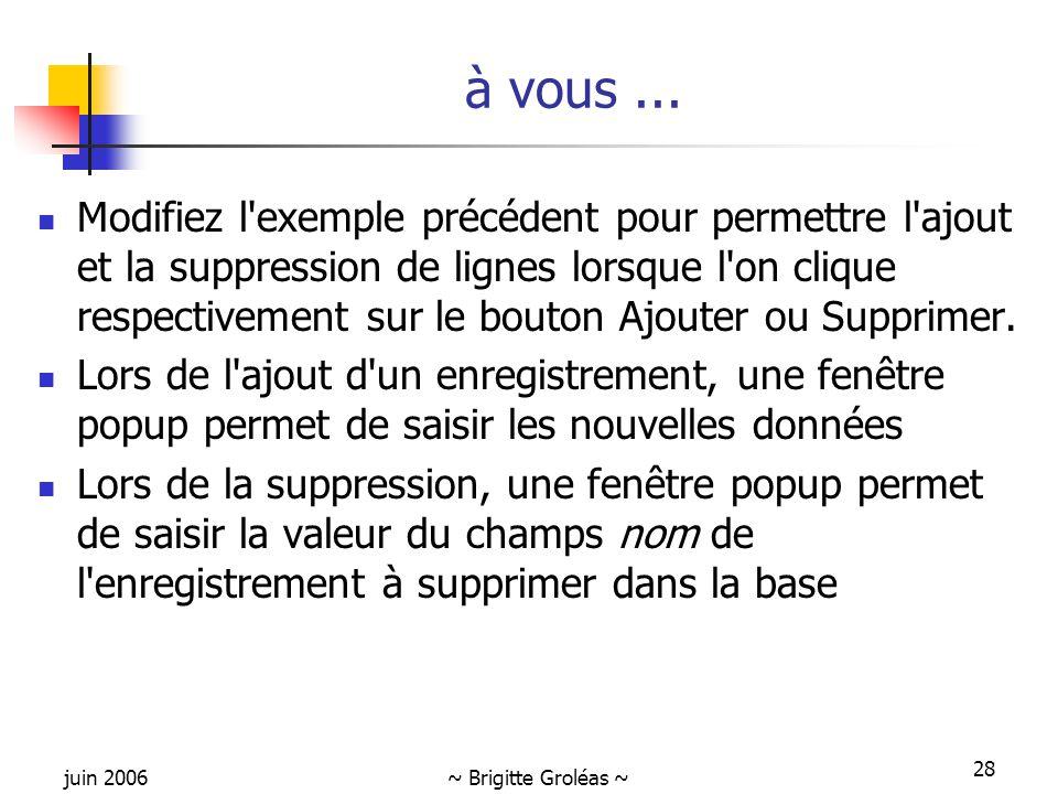 juin 2006~ Brigitte Groléas ~ 28 Modifiez l exemple précédent pour permettre l ajout et la suppression de lignes lorsque l on clique respectivement sur le bouton Ajouter ou Supprimer.