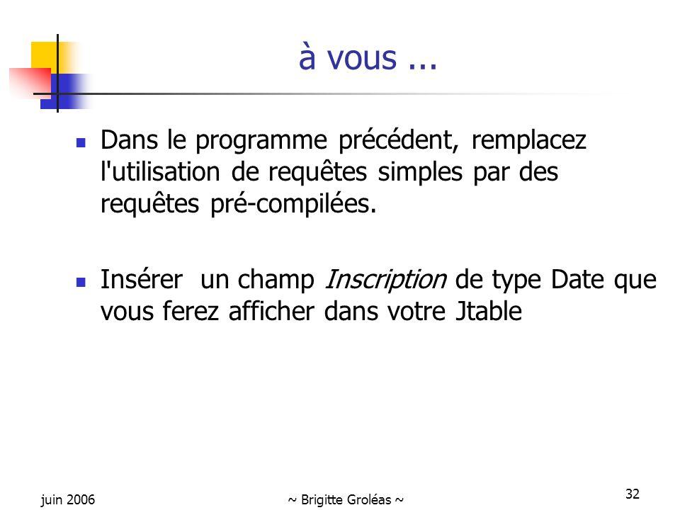 juin 2006~ Brigitte Groléas ~ 32 Dans le programme précédent, remplacez l'utilisation de requêtes simples par des requêtes pré-compilées. Insérer un c