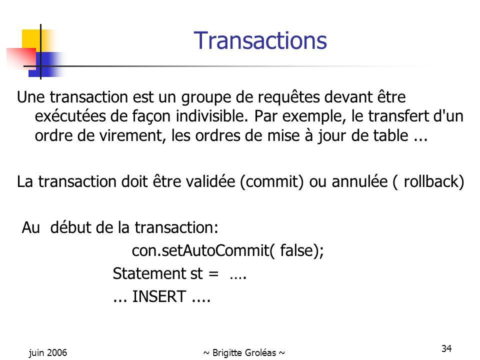 juin 2006~ Brigitte Groléas ~ 34 Transactions Une transaction est un groupe de requêtes devant être exécutées de façon indivisible. Par exemple, le tr