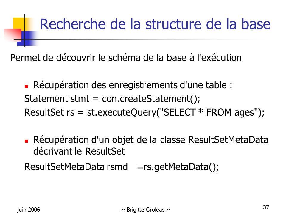 juin 2006~ Brigitte Groléas ~ 37 Recherche de la structure de la base Permet de découvrir le schéma de la base à l exécution Récupération des enregistrements d une table : Statement stmt = con.createStatement(); ResultSet rs = st.executeQuery( SELECT * FROM ages ); Récupération d un objet de la classe ResultSetMetaData décrivant le ResultSet ResultSetMetaData rsmd =rs.getMetaData();