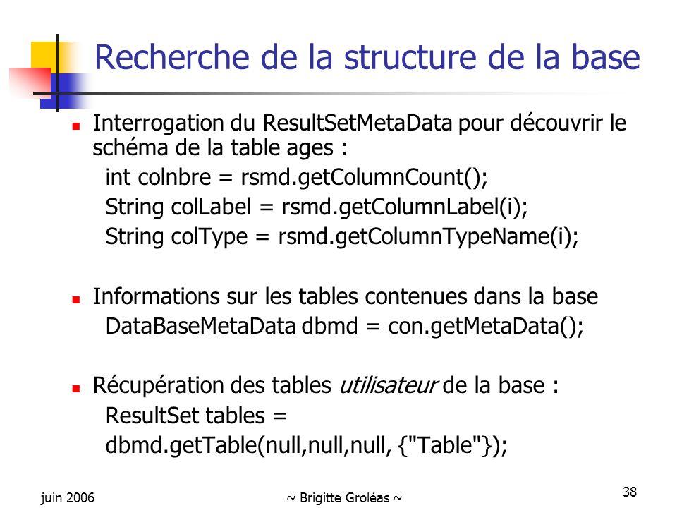 juin 2006~ Brigitte Groléas ~ 38 Recherche de la structure de la base Interrogation du ResultSetMetaData pour découvrir le schéma de la table ages : int colnbre = rsmd.getColumnCount(); String colLabel = rsmd.getColumnLabel(i); String colType = rsmd.getColumnTypeName(i); Informations sur les tables contenues dans la base DataBaseMetaData dbmd = con.getMetaData(); Récupération des tables utilisateur de la base : ResultSet tables = dbmd.getTable(null,null,null, { Table });
