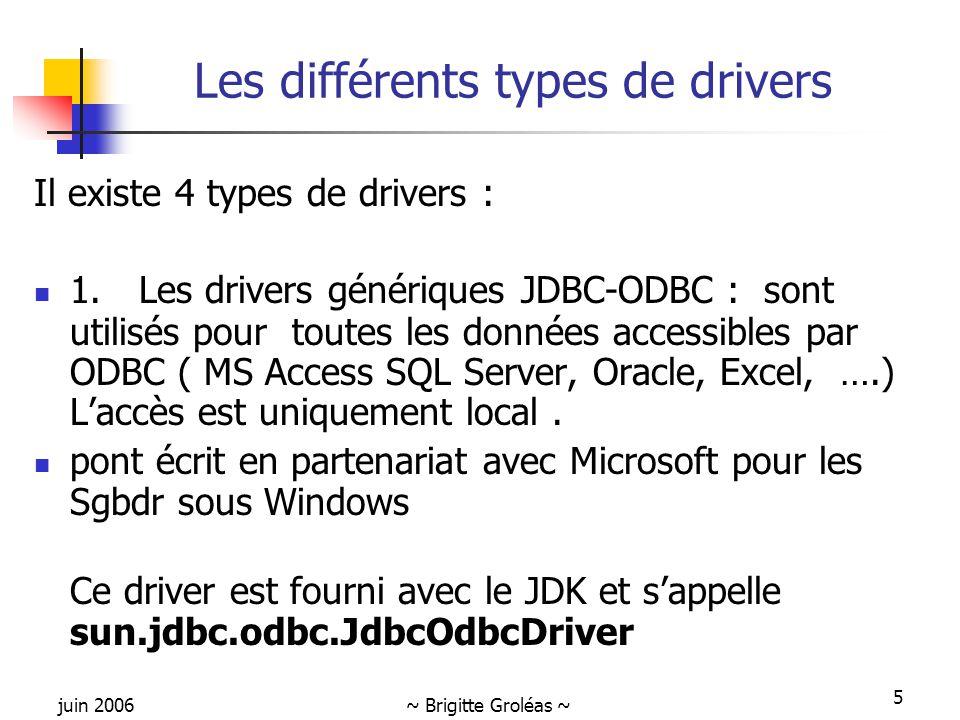 juin 2006~ Brigitte Groléas ~ 5 Les différents types de drivers Il existe 4 types de drivers : 1. Les drivers génériques JDBC-ODBC : sont utilisés pou