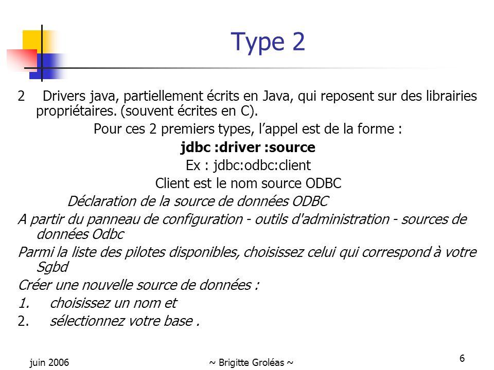 juin 2006~ Brigitte Groléas ~ 6 Type 2 2 Drivers java, partiellement écrits en Java, qui reposent sur des librairies propriétaires. (souvent écrites e
