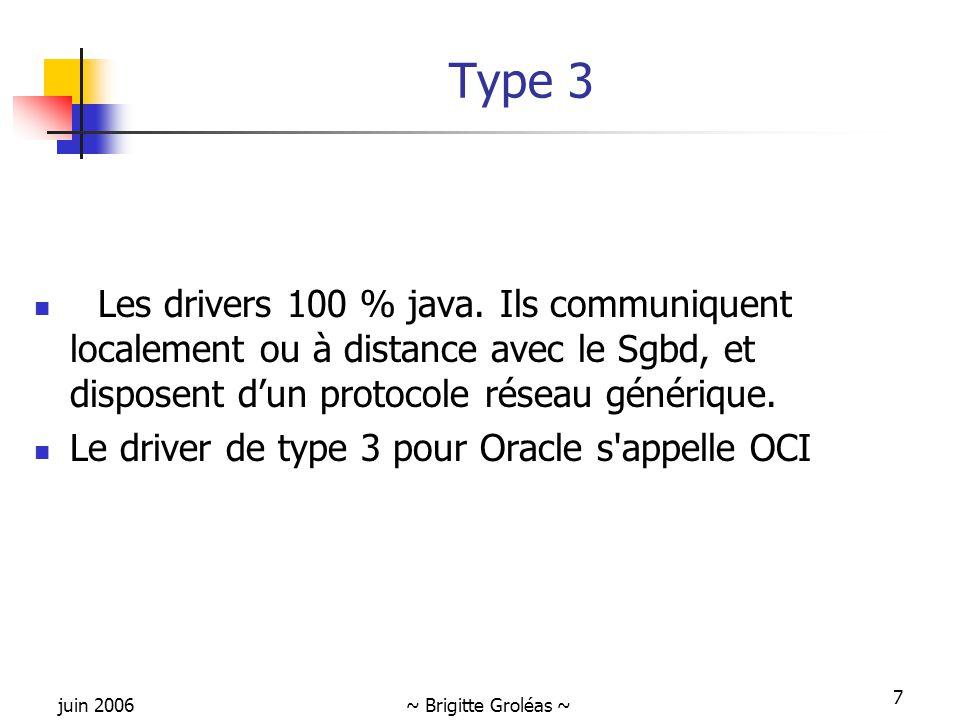 juin 2006~ Brigitte Groléas ~ 7 Type 3 Les drivers 100 % java. Ils communiquent localement ou à distance avec le Sgbd, et disposent d'un protocole rés