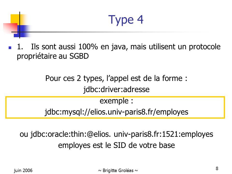 juin 2006~ Brigitte Groléas ~ 8 Type 4 1. Ils sont aussi 100% en java, mais utilisent un protocole propriétaire au SGBD Pour ces 2 types, l'appel est