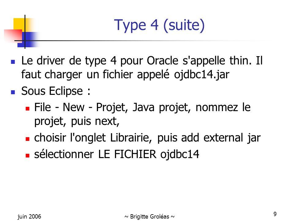 juin 2006~ Brigitte Groléas ~ 9 Type 4 (suite) Le driver de type 4 pour Oracle s'appelle thin. Il faut charger un fichier appelé ojdbc14.jar Sous Ecli