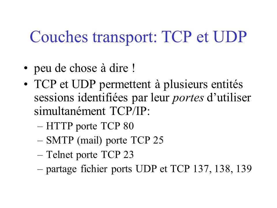 Couches transport: TCP et UDP peu de chose à dire ! TCP et UDP permettent à plusieurs entités sessions identifiées par leur portes d'utiliser simultan