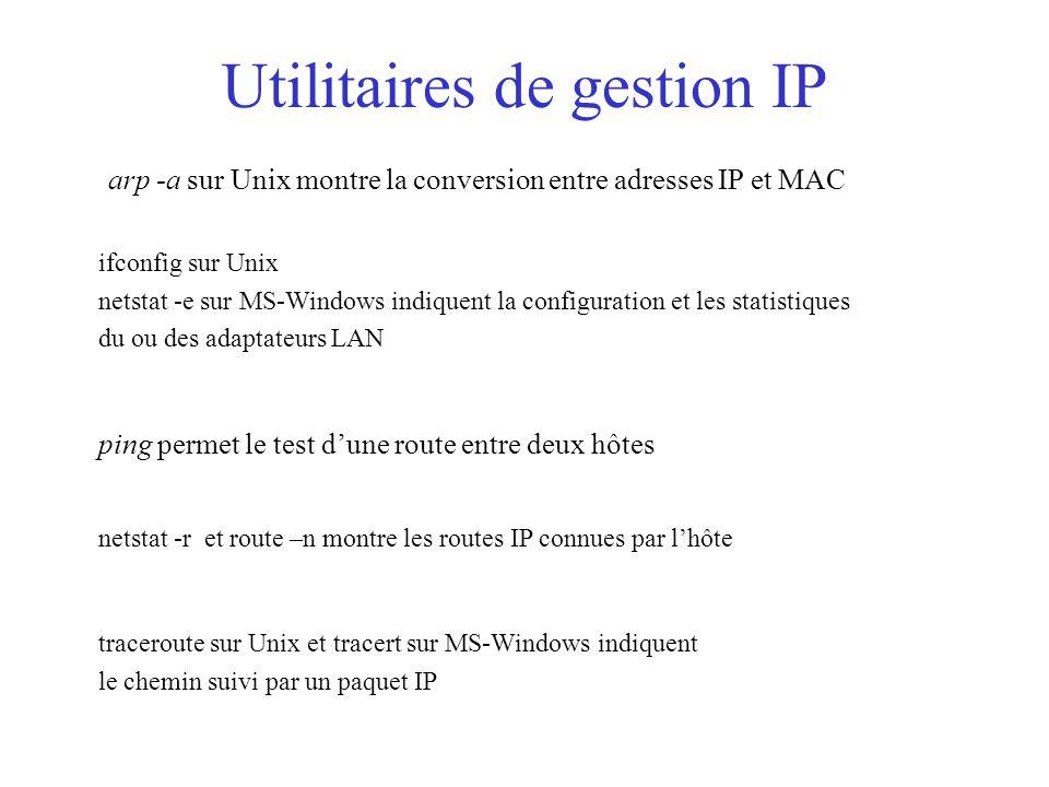 Utilitaires de gestion IP traceroute sur Unix et tracert sur MS-Windows indiquent le chemin suivi par un paquet IP netstat -r et route –n montre les routes IP connues par l'hôte ping permet le test d'une route entre deux hôtes arp -a sur Unix montre la conversion entre adresses IP et MAC ifconfig sur Unix netstat -e sur MS-Windows indiquent la configuration et les statistiques du ou des adaptateurs LAN