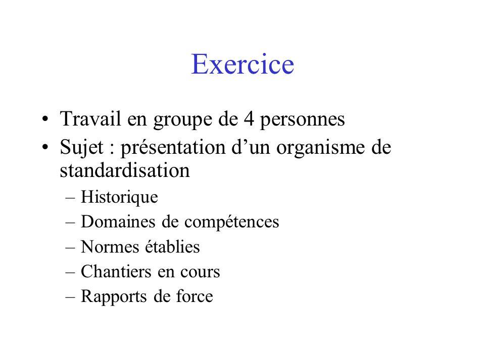 Exercice Travail en groupe de 4 personnes Sujet : présentation d'un organisme de standardisation –Historique –Domaines de compétences –Normes établies