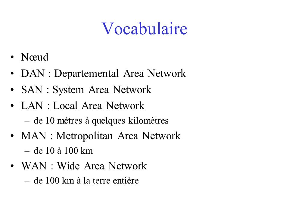 Vocabulaire Nœud DAN : Departemental Area Network SAN : System Area Network LAN : Local Area Network –de 10 mètres à quelques kilomètres MAN : Metropolitan Area Network –de 10 à 100 km WAN : Wide Area Network –de 100 km à la terre entière