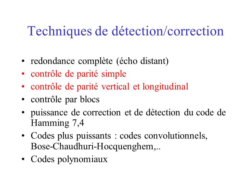 Techniques de détection/correction redondance complète (écho distant) contrôle de parité simple contrôle de parité vertical et longitudinal contrôle par blocs puissance de correction et de détection du code de Hamming 7,4 Codes plus puissants : codes convolutionnels, Bose-Chaudhuri-Hocquenghem,..