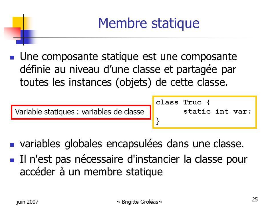 juin 2007~ Brigitte Groléas~ 25 Membre statique Une composante statique est une composante définie au niveau d'une classe et partagée par toutes les i
