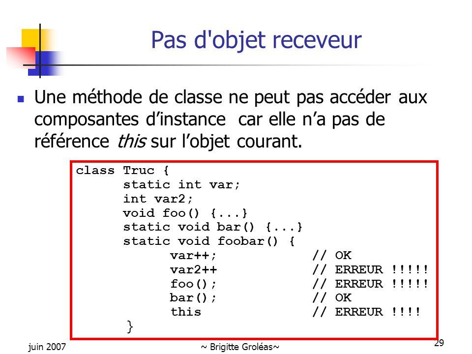 juin 2007~ Brigitte Groléas~ 29 Pas d'objet receveur Une méthode de classe ne peut pas accéder aux composantes d'instance car elle n'a pas de référenc