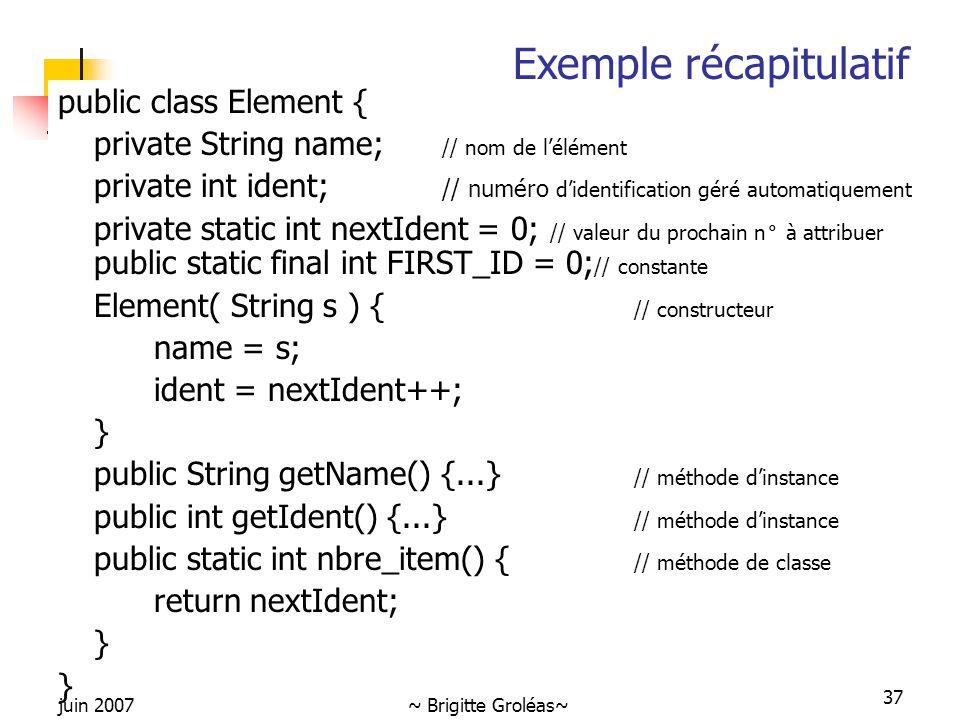 juin 2007~ Brigitte Groléas~ 37 public class Element { private String name; // nom de l'élément private int ident; // numéro d'identification géré aut