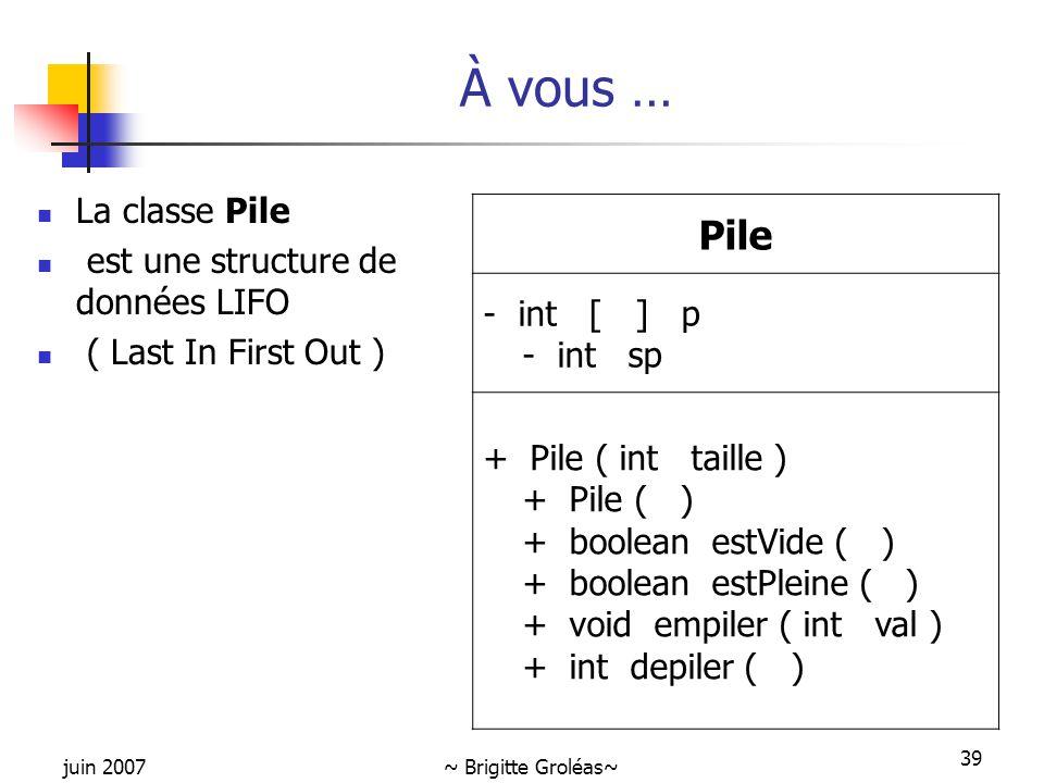 juin 2007~ Brigitte Groléas~ 39 À vous … La classe Pile est une structure de données LIFO ( Last In First Out ) Pile - int [ ] p - int sp + Pile ( int