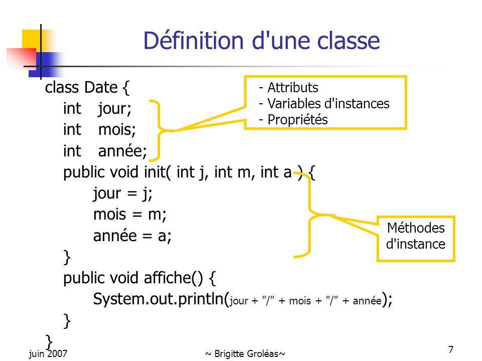 juin 2007~ Brigitte Groléas~ 7 Définition d'une classe class Date { int jour; int mois; int année; public void init( int j, int m, int a ) { jour = j;