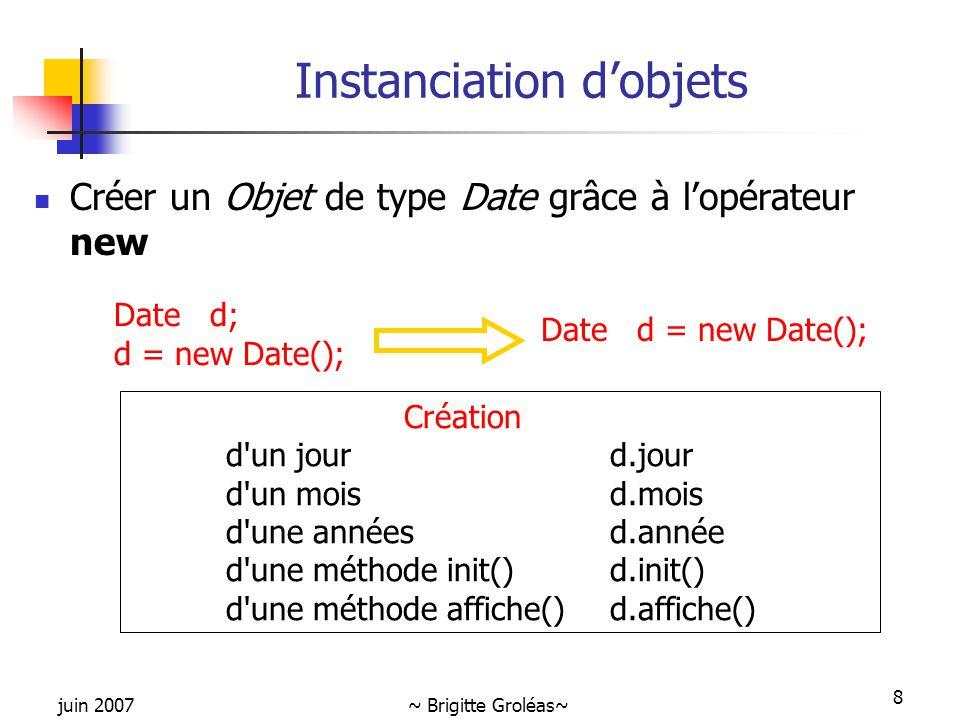 juin 2007~ Brigitte Groléas~ 8 Instanciation d'objets Créer un Objet de type Date grâce à l'opérateur new Dated; d = new Date(); Dated = new Date(); C