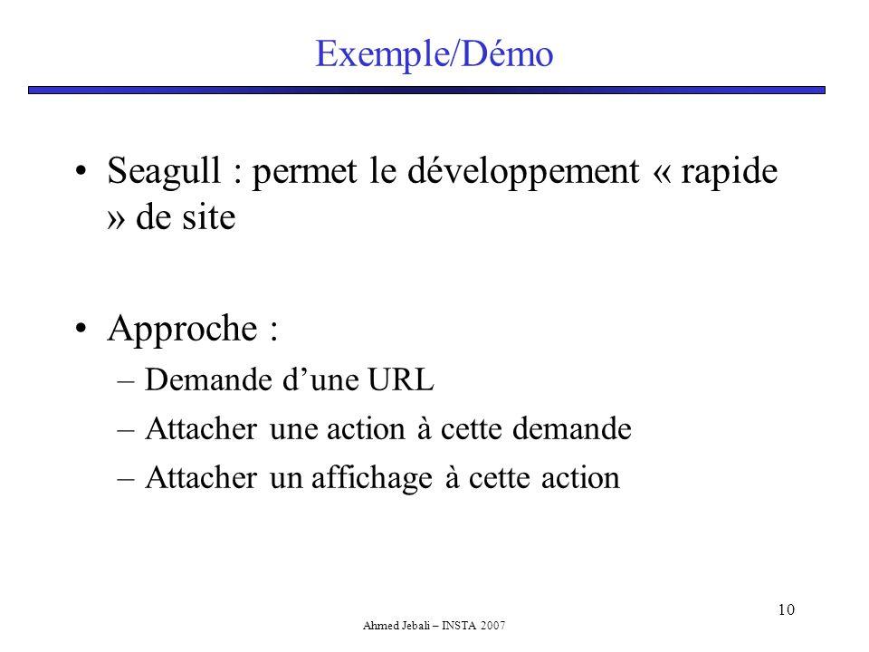 Ahmed Jebali – INSTA 2007 10 Exemple/Démo Seagull : permet le développement « rapide » de site Approche : –Demande d'une URL –Attacher une action à cette demande –Attacher un affichage à cette action