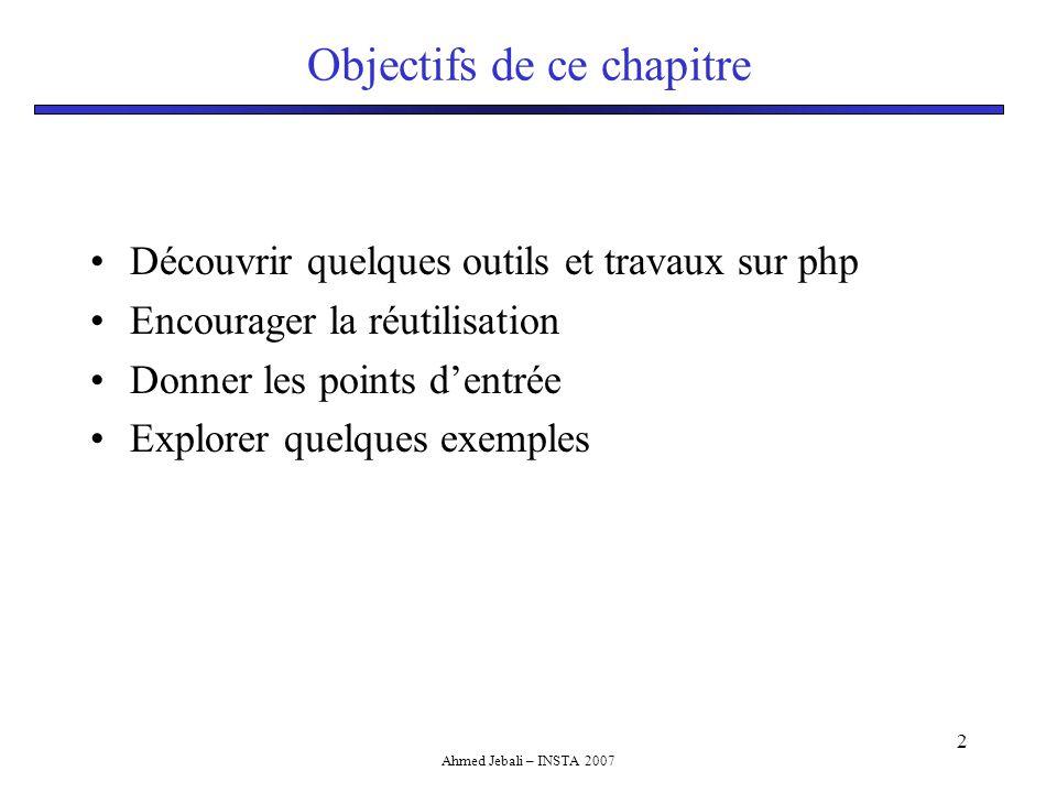 Ahmed Jebali – INSTA 2007 2 Objectifs de ce chapitre Découvrir quelques outils et travaux sur php Encourager la réutilisation Donner les points d'entrée Explorer quelques exemples