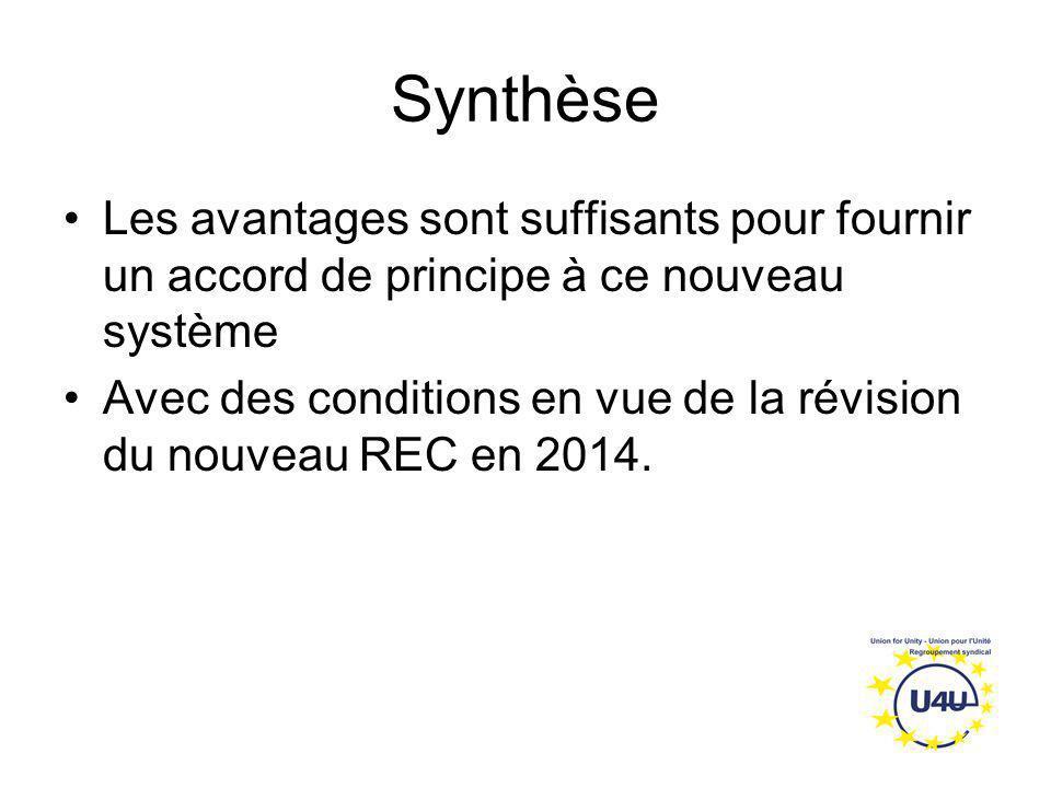 Synthèse Les avantages sont suffisants pour fournir un accord de principe à ce nouveau système Avec des conditions en vue de la révision du nouveau RE
