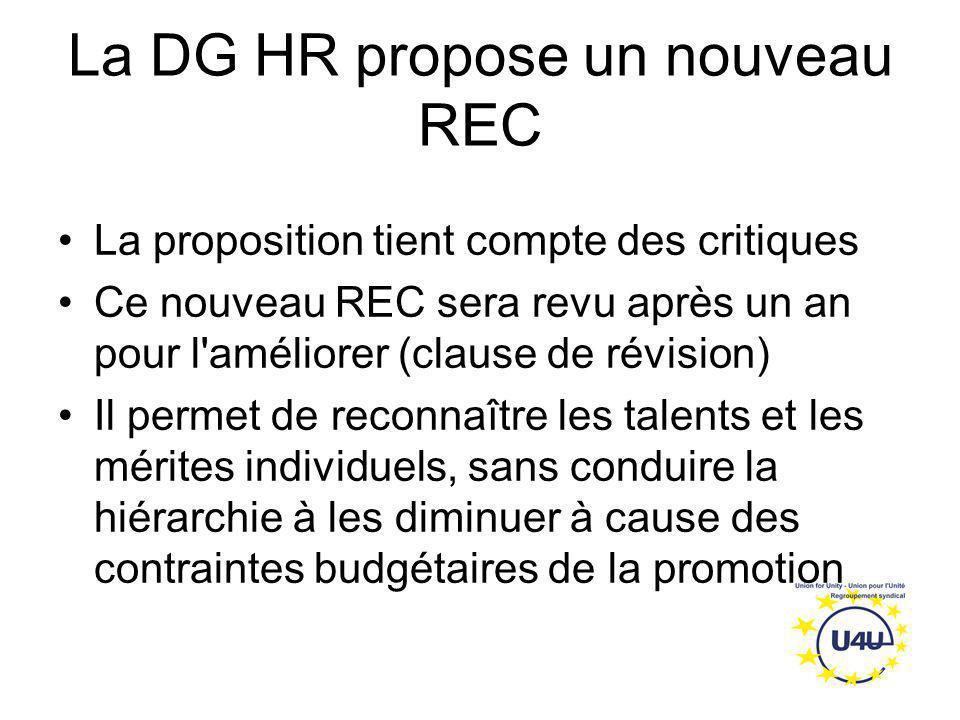 La DG HR propose un nouveau REC La proposition tient compte des critiques Ce nouveau REC sera revu après un an pour l'améliorer (clause de révision) I