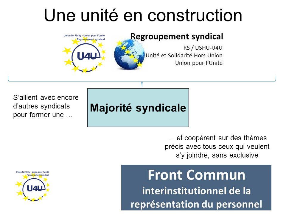 Une unité en construction Majorité syndicale … et coopérent sur des thèmes précis avec tous ceux qui veulent s'y joindre, sans exclusive S'allient avec encore d'autres syndicats pour former une …