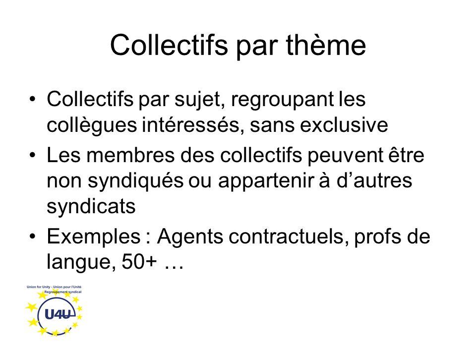 Collectifs par thème Collectifs par sujet, regroupant les collègues intéressés, sans exclusive Les membres des collectifs peuvent être non syndiqués ou appartenir à d'autres syndicats Exemples : Agents contractuels, profs de langue, 50+ …