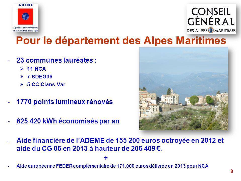 9 Pour le Conseil général des Alpes Maritimes selon le règlement : « 3.5 Amélioration des réseaux d'éclairage public » Le CG06 subventionne le diagnostic de l'éclairage ou diagnostic photométrique, de toutes les communes, sans conditions au barème de la commune (jusqu'à 80% avec co-financeurs).