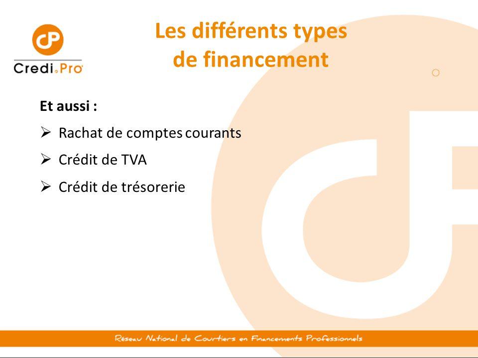 Les différents types de financement Et aussi :  Rachat de comptes courants  Crédit de TVA  Crédit de trésorerie