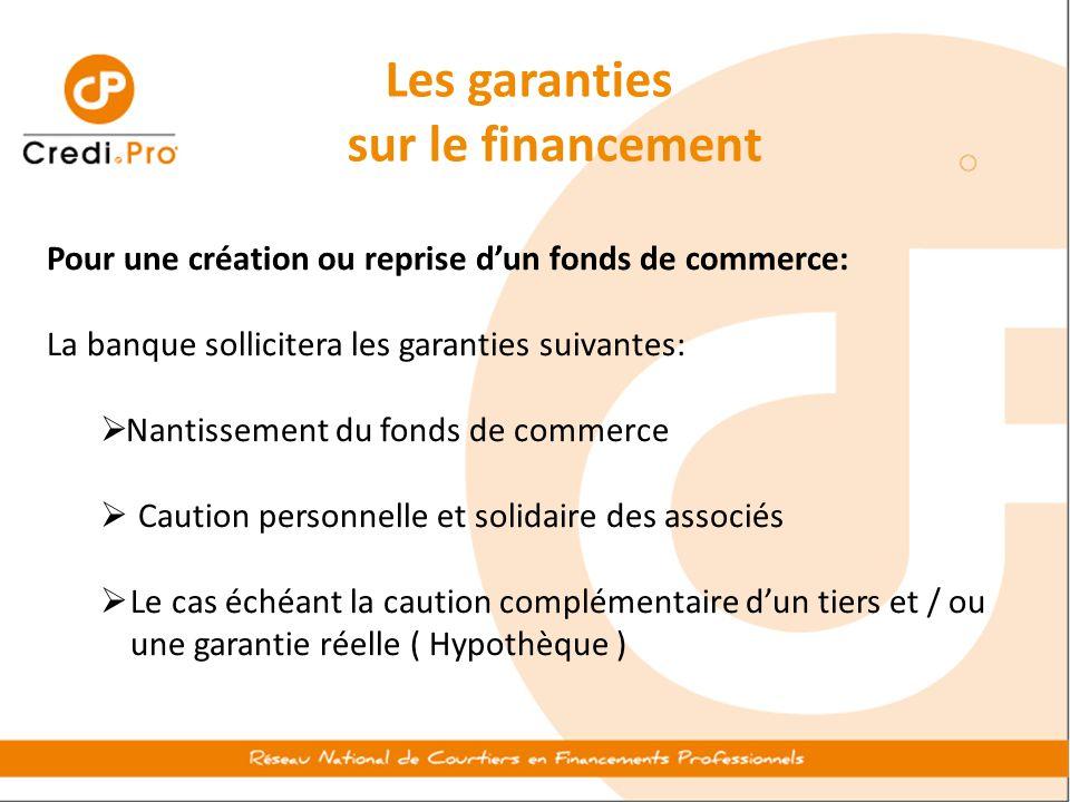 Les garanties sur le financement Pour une création ou reprise d'un fonds de commerce: La banque sollicitera les garanties suivantes:  Nantissement du