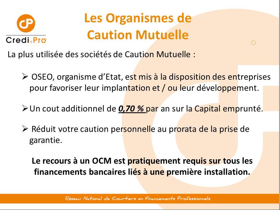 Les Organismes de Caution Mutuelle La plus utilisée des sociétés de Caution Mutuelle :  OSEO, organisme d'Etat, est mis à la disposition des entrepri