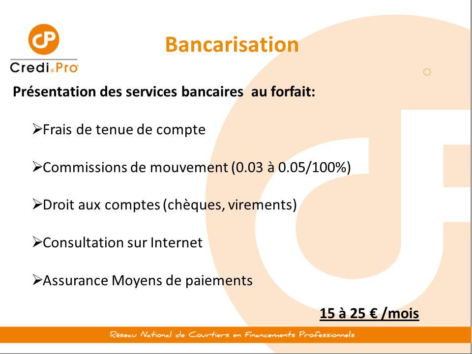 Bancarisation Présentation des services bancaires au forfait:  Frais de tenue de compte  Commissions de mouvement (0.03 à 0.05/100%)  Droit aux com