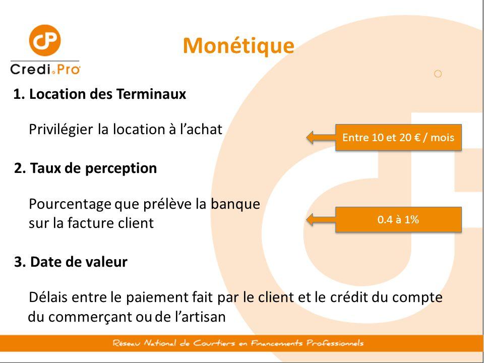 Monétique 1. Location des Terminaux Privilégier la location à l'achat 2. Taux de perception Pourcentage que prélève la banque sur la facture client 3.