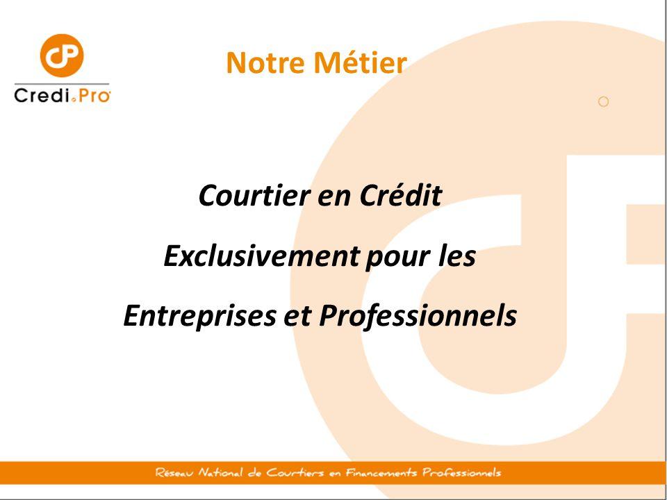 Notre Métier Courtier en Crédit Exclusivement pour les Entreprises et Professionnels